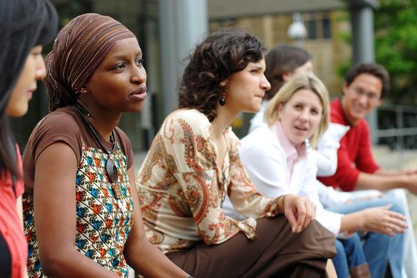 Graduate students chatting, Oxford