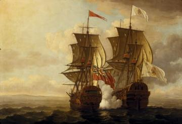 The capture of the 'Nuestra Senora de Covadonga' by John Clevely, 1756