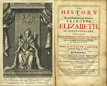 The frontispiece and title page from the 1675 edition of The Annals of Queen Elizabeth